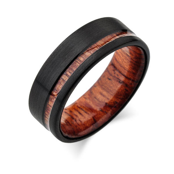 Koa Tungsten Hawaiian Wedding Rings