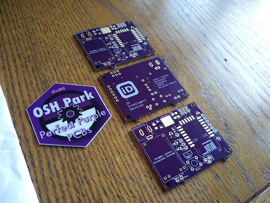 "iD8266_1 on Twitter: ""v1 solar lithium charging @ESP8266 breakout board from @oshpark has arrived, plated slots have turned out great :) """