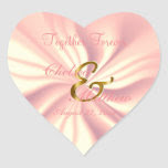 Wedding Day Rose Satin | Personalize Heart Sticker