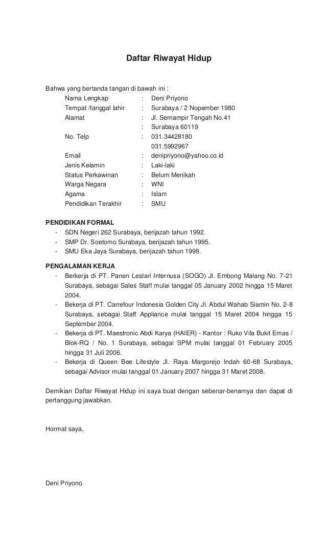 Contoh Daftar Riwayat Hidup Untuk Pendaftaran Tni Dawn