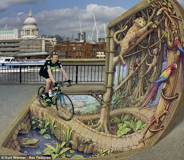 Monkeying around: 'St Paul's and London craning skyward' is one of the illusions in street artist Kurt Wenner's new book 'Asphalt Renaissance'