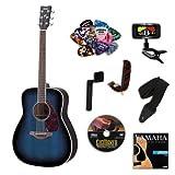 Yamaha FG720S Oriental Blue Burst Acoustic Guitar BUNDLE w/Legacy Acc Kit (Tuner, DVD, Much More)