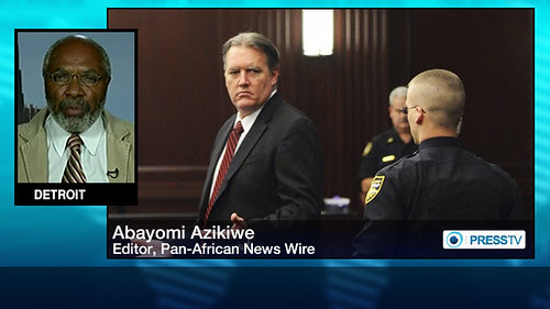Abayomi Azikiwe, editor of the Pan-African News Wire, in Press TV graphic on story related to the conviction of a white man in the shooting death of African American youth Jordan Davis. Azikiwe is frequent guest on the network. by Pan-African News Wire File Photos