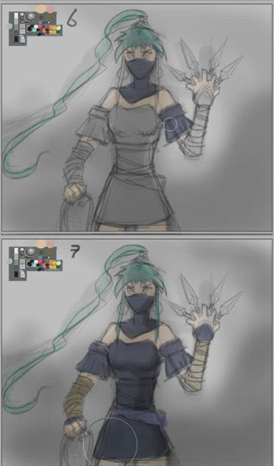 how to color ninja girl