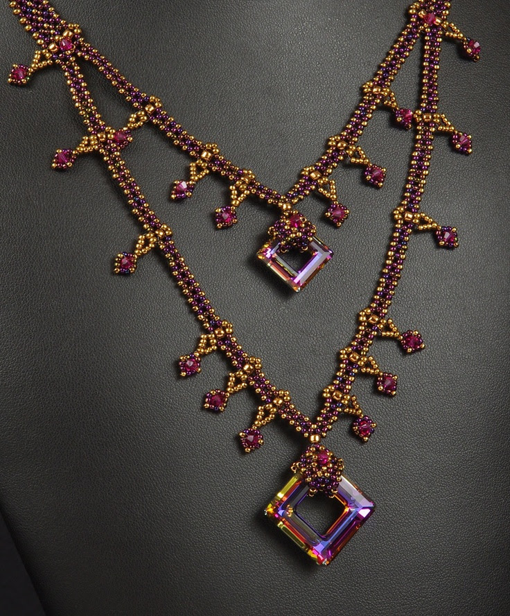 Playing with Squares:  A Beadwoven Necklace. $155.00, via Etsy.
