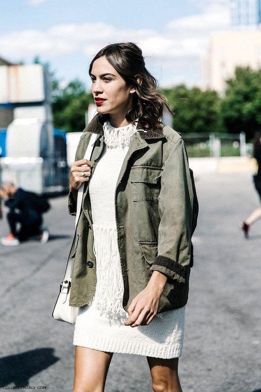 Le Fashion Blog Alexa Chung Street Style Fall Phillip Lim Fringed Knit Sweater Dress Army Utility Jacket Via Collage Vintage