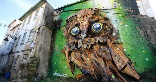 Portuguese Street Artist Turns Junk Into Amazing Owl Sculpture