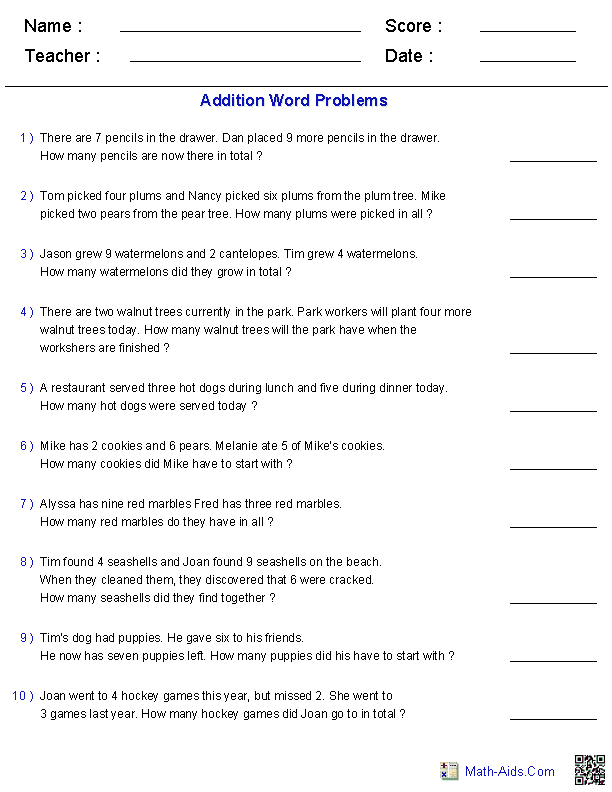 Addition Word Problems Worksheets 12