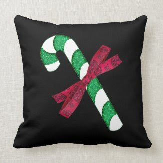 Glittery Green and Silver Candy Cane with Red Bow Pillows