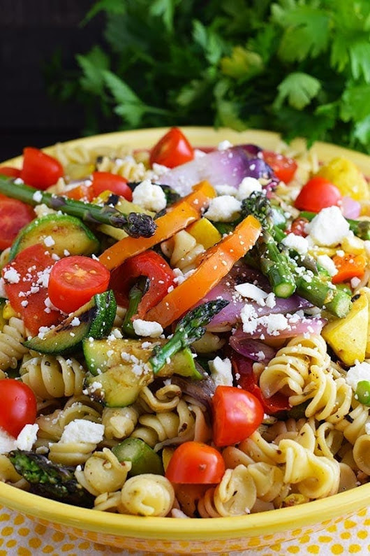Grilled Summer Vegetable Pasta Salad - Soulfully Made