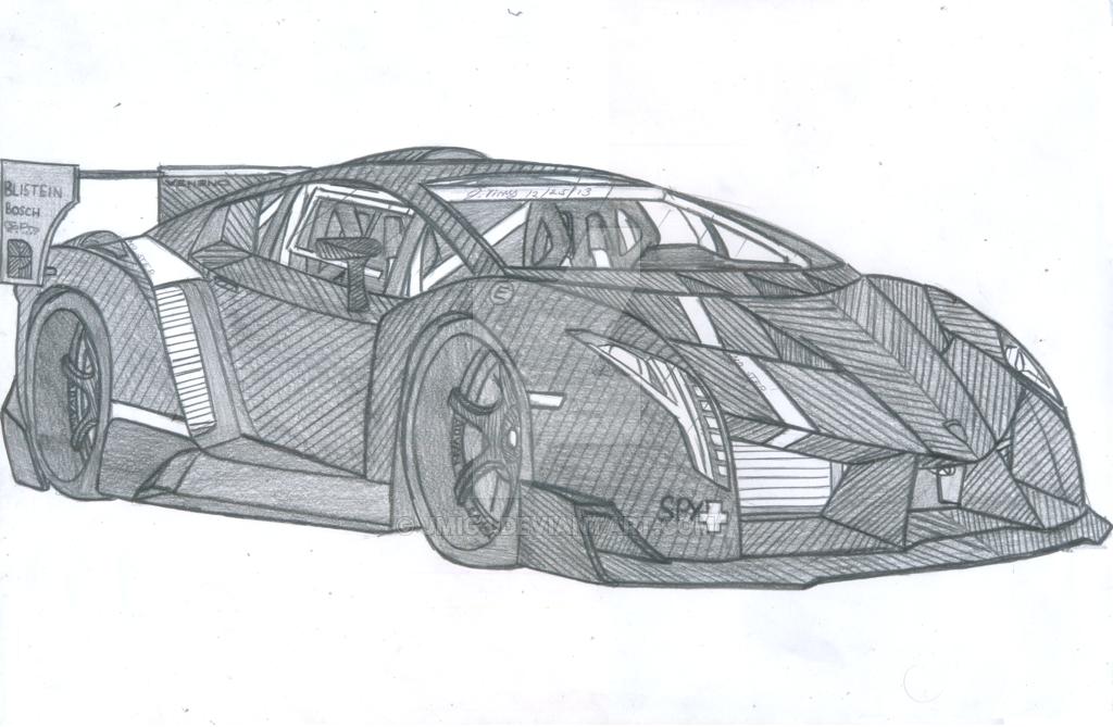 Lamborghini Drawing Pencil Sketch Colorful Realistic Art