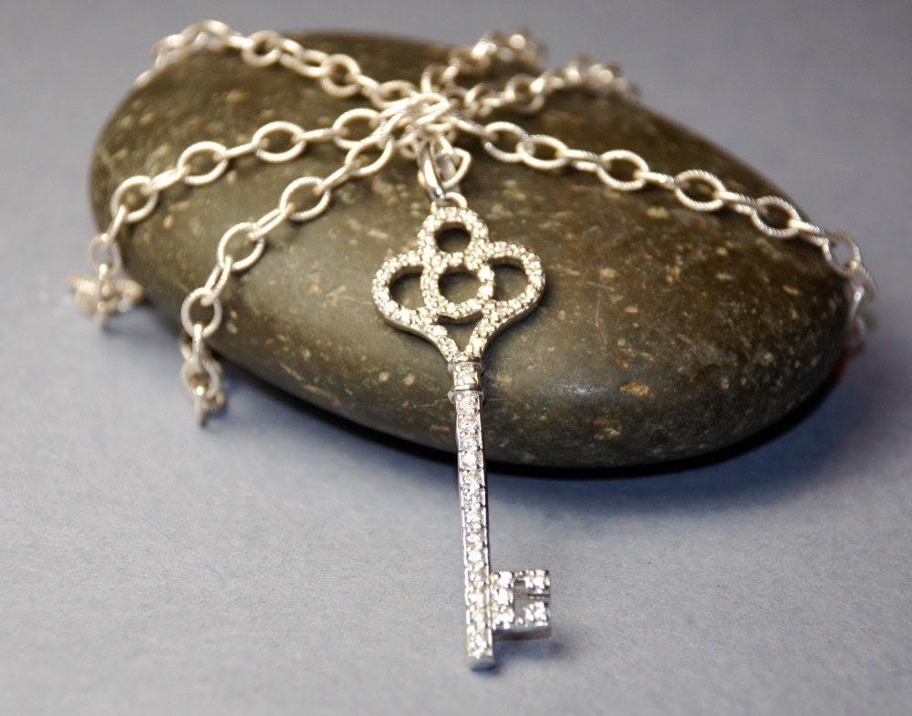 Rhinestone Key Necklace Sterling Silver Long Necklace Skeleton Key Necklace Valentines Day Gift Celebrity Tiffany Style