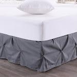 Hudson Pintuck Bed Skirt Ruffle 14 inch Drop, Gray
