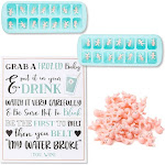 My Water Broke Baby Shower Game - 60 1 Inch Tiny Plastic Babies, 3 Ice Cube Trays, 1 Sign