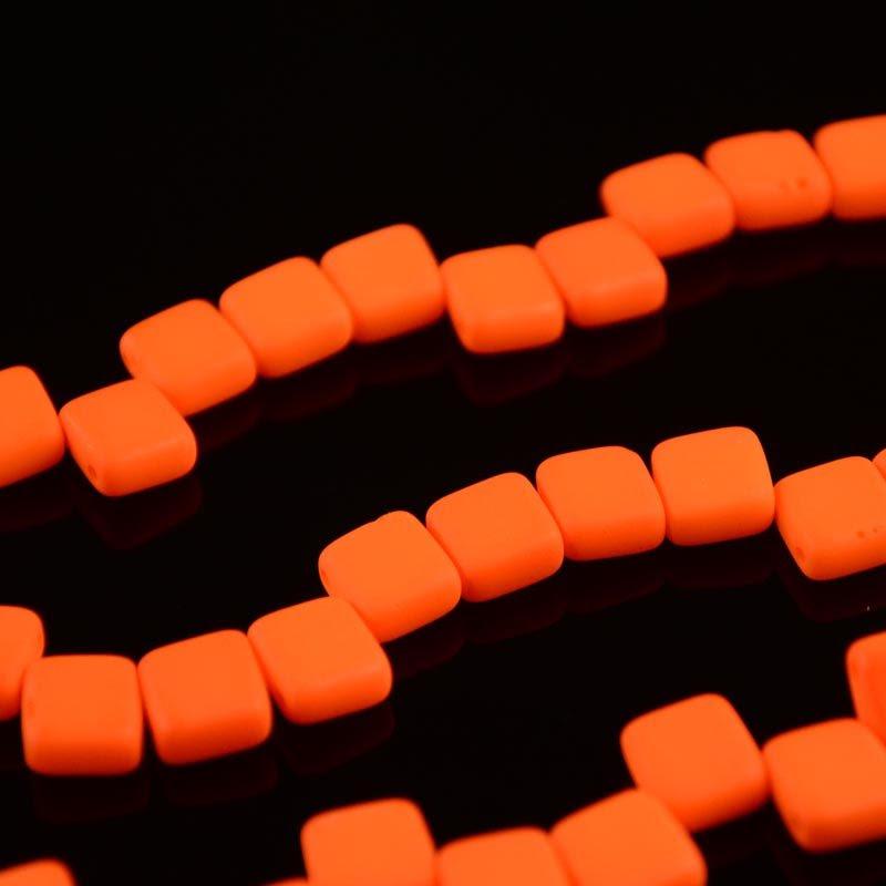 s36431 Glass Beads - 2 Hole Flat Square Tiles - Neon Orange (1)