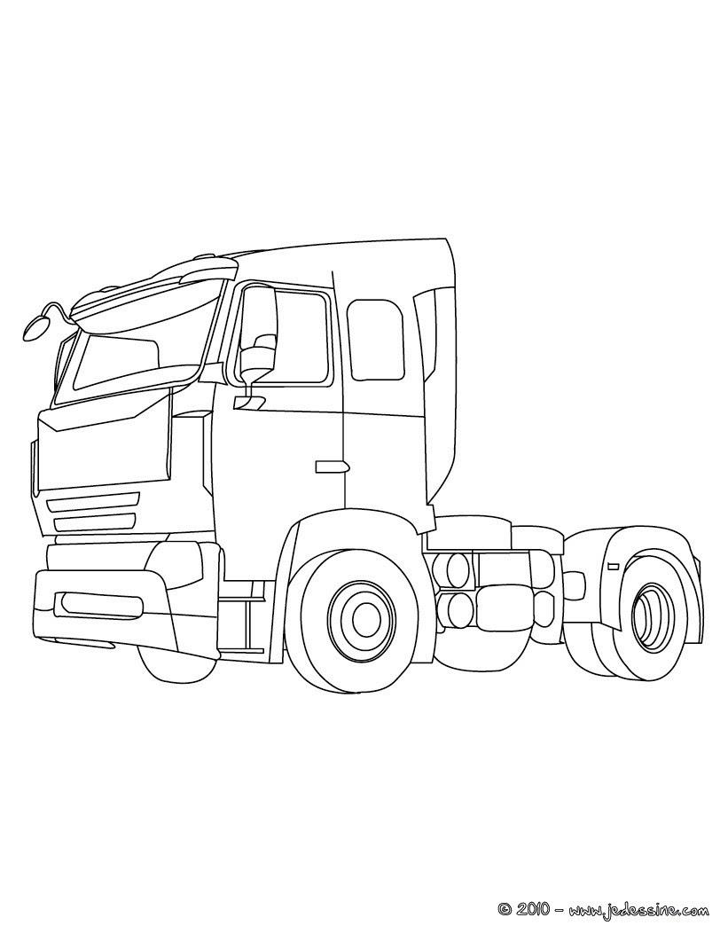 Grand truck américain  colorier Cabine de camion de livraison  colorier Coloriage Coloriage VEHICULES Coloriage CAMION
