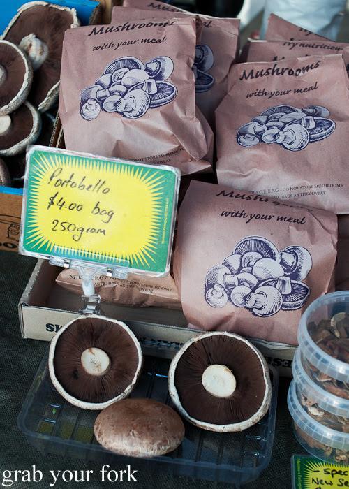 Portobello mushrooms at Frenchs Forest Organic Food Market