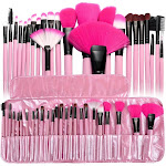 Zodaca Pink Pro 24pcs Pouch Bag Case Soft Cosmetic Makeup Brush Set Kit