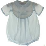 Baby Boys Blue Sailboat Bubble Outfit - Petit Ami NB
