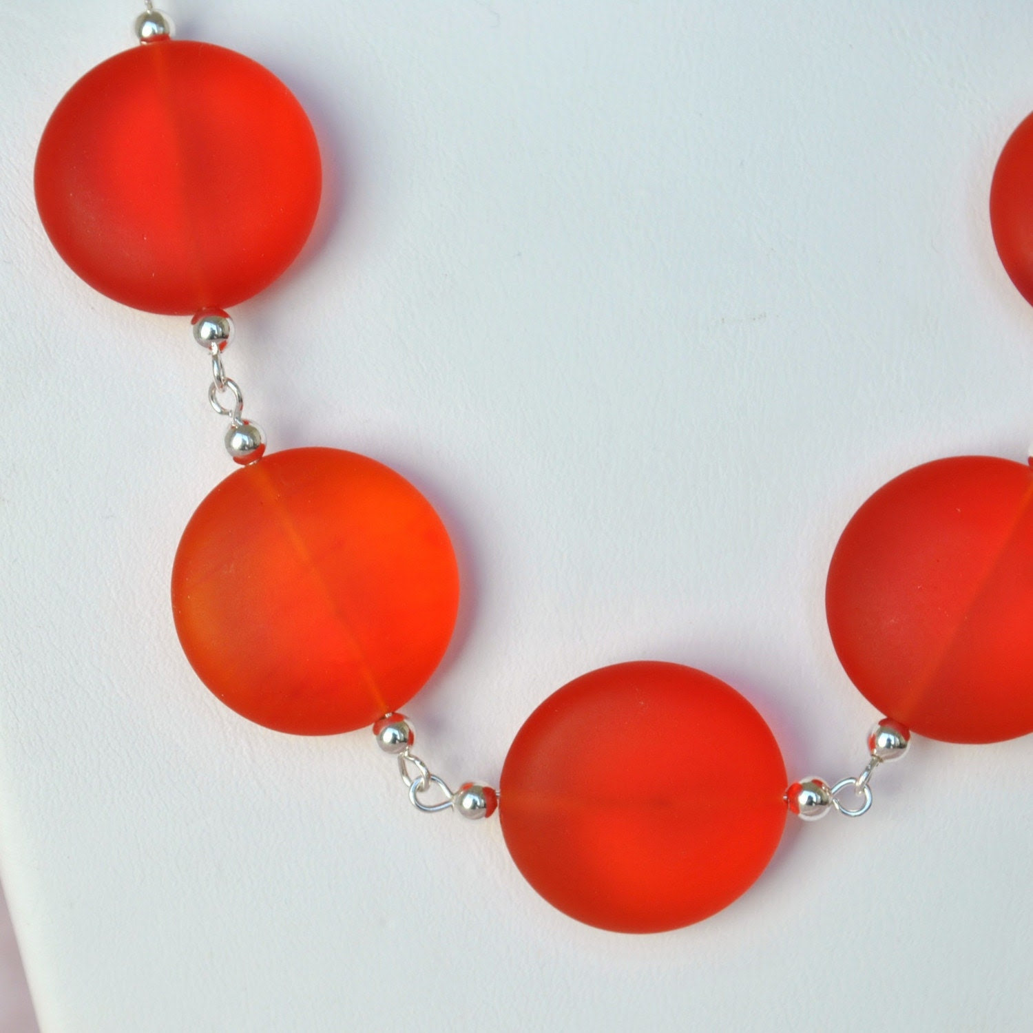 Firey Orange Glass Necklace