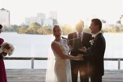 Video: restless flower girl interrupts wedding vows   to