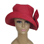 The Raffia Boutique Eralia: Authentic African Hand Woven Red Madagascar Bell Shaped Raffia Hat with Bow