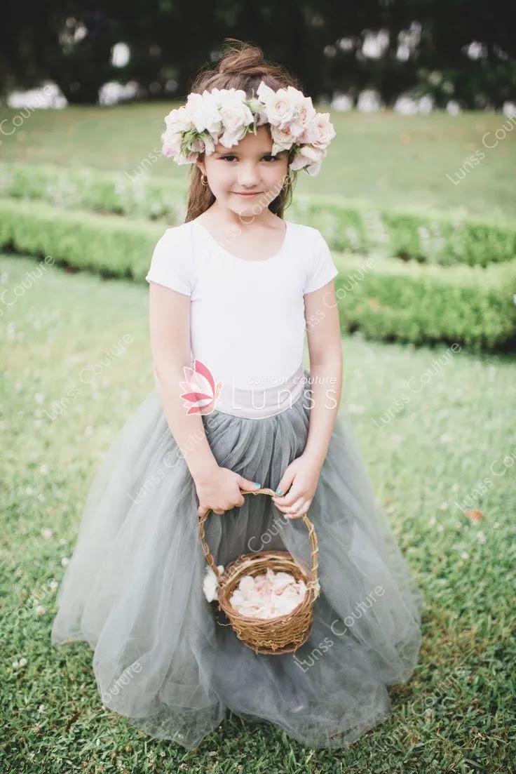 custom designer two tone flower girl dress floor length tulle skirt 1