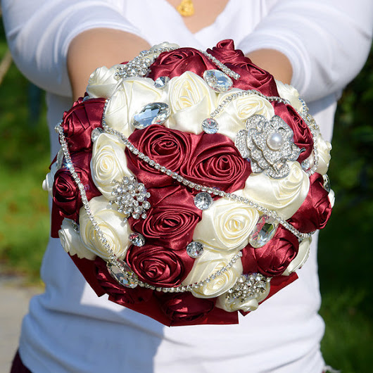 6 Styles Crystal Wedding Bouquet Satin