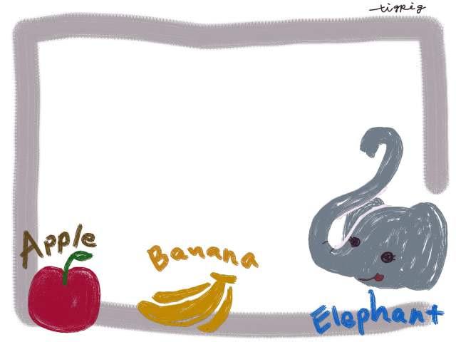 フリー素材フレーム素材可愛いゾウりんごバナナの英語イラスト素材