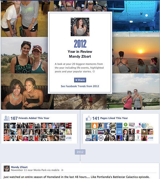 Ferramenta Year in Review, do Facebook, cria retrospectiva de cada usuário dentro da rede - imagem retirada do site Folha de S.Paulo