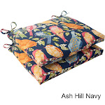 Pillow Perfect Ash Hill Polyester Squared Outdoor Seat Cushions (Set of 2) Blue, Orange, Green