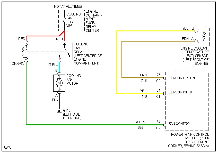 I need a engine cooling fan power/ control schematic for a ...