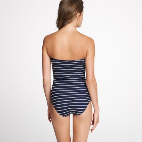 Materials online twist front striped navy blue tankini top and pantskirt clothing
