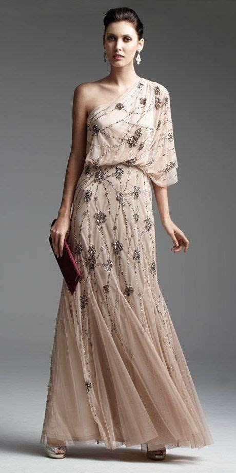 adrianna papell beaded  shoulder gown