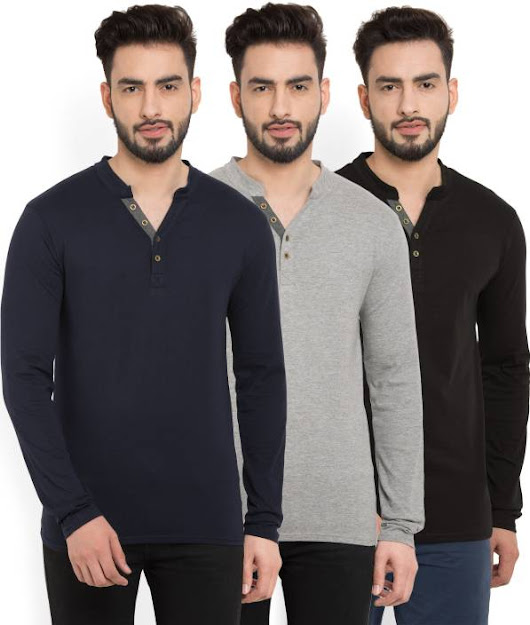 Billion PerfectFit Solid Men Henley Multicolor T-Shirt - Buy Billion PerfectFit Solid Men Henley Multicolor T-Shirt Online at Best Prices in India | Flipkart.com