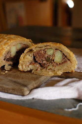 ground beef wellington with gf puff pastry
