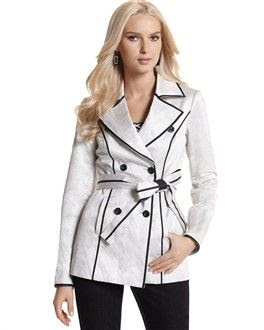 White House Black Market Contrast Cropped Trench Coat