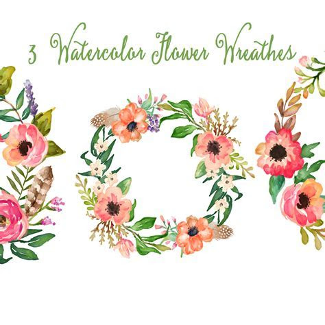 """Watercolor Hand Painted Floral Frames Clipart: """"FLORAL"""