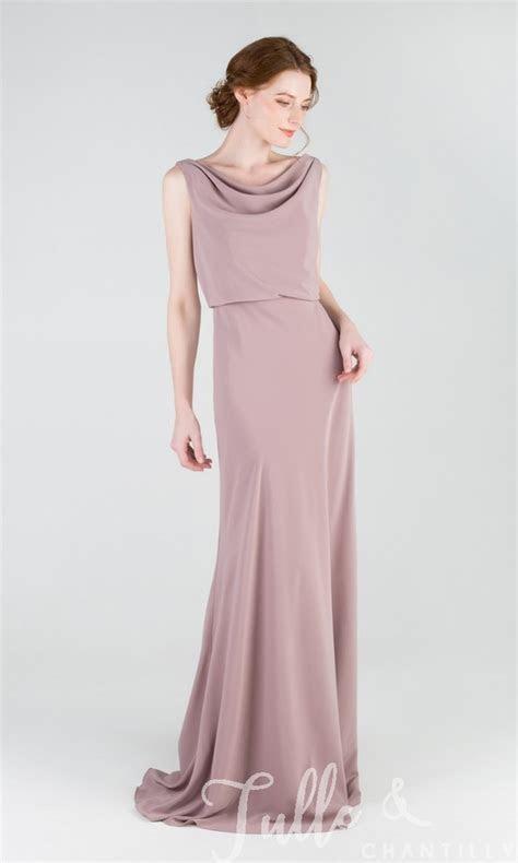 Pretty Long Chiffon Bridesmaid Dress with Cowl Neck TBQP457