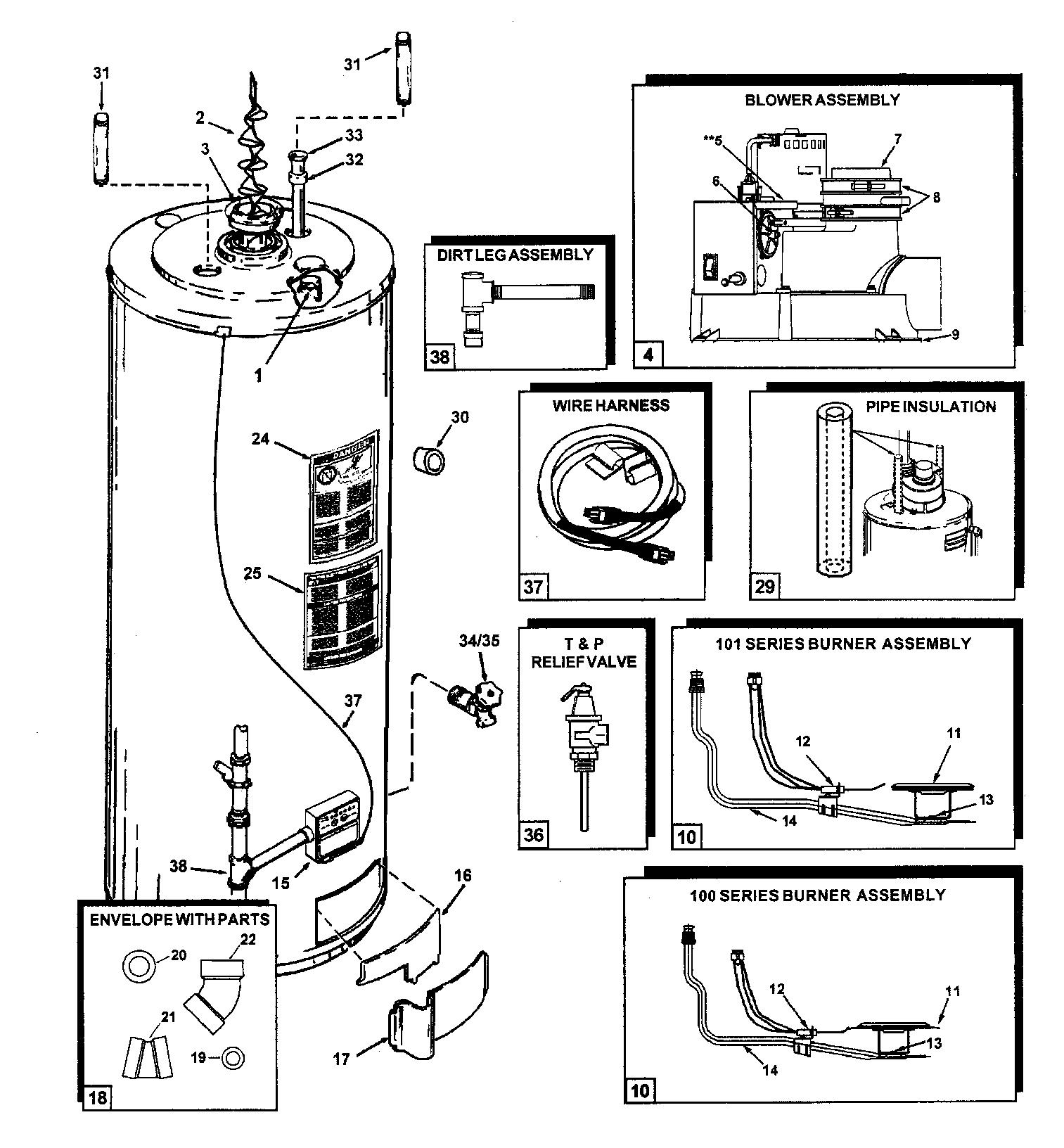 STATE WATER HEATER Parts | Model pr640xcvit | Sears ...