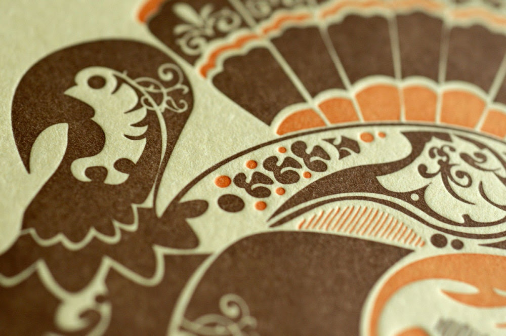 Natalie's Turkey - Letterpress Bird Notecard - Butter Yellow