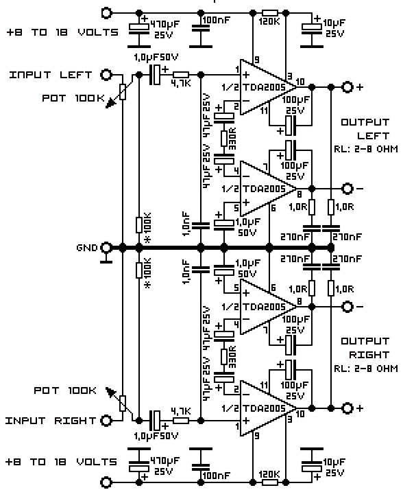 tda2005 amplifier circuit diagram layout