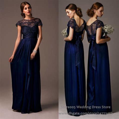 Cheap 2016 Lace Chiffon Navy Blue Bridesmaid Dresses For