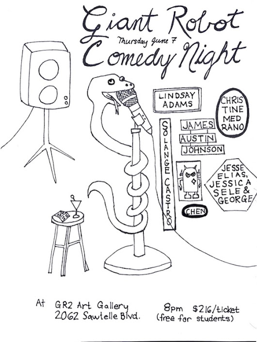 Quick Dish LA: FREE Comedy on The Westside with GIANT ROBOT 6.7 at GR2 Gallery - Comedy Cake