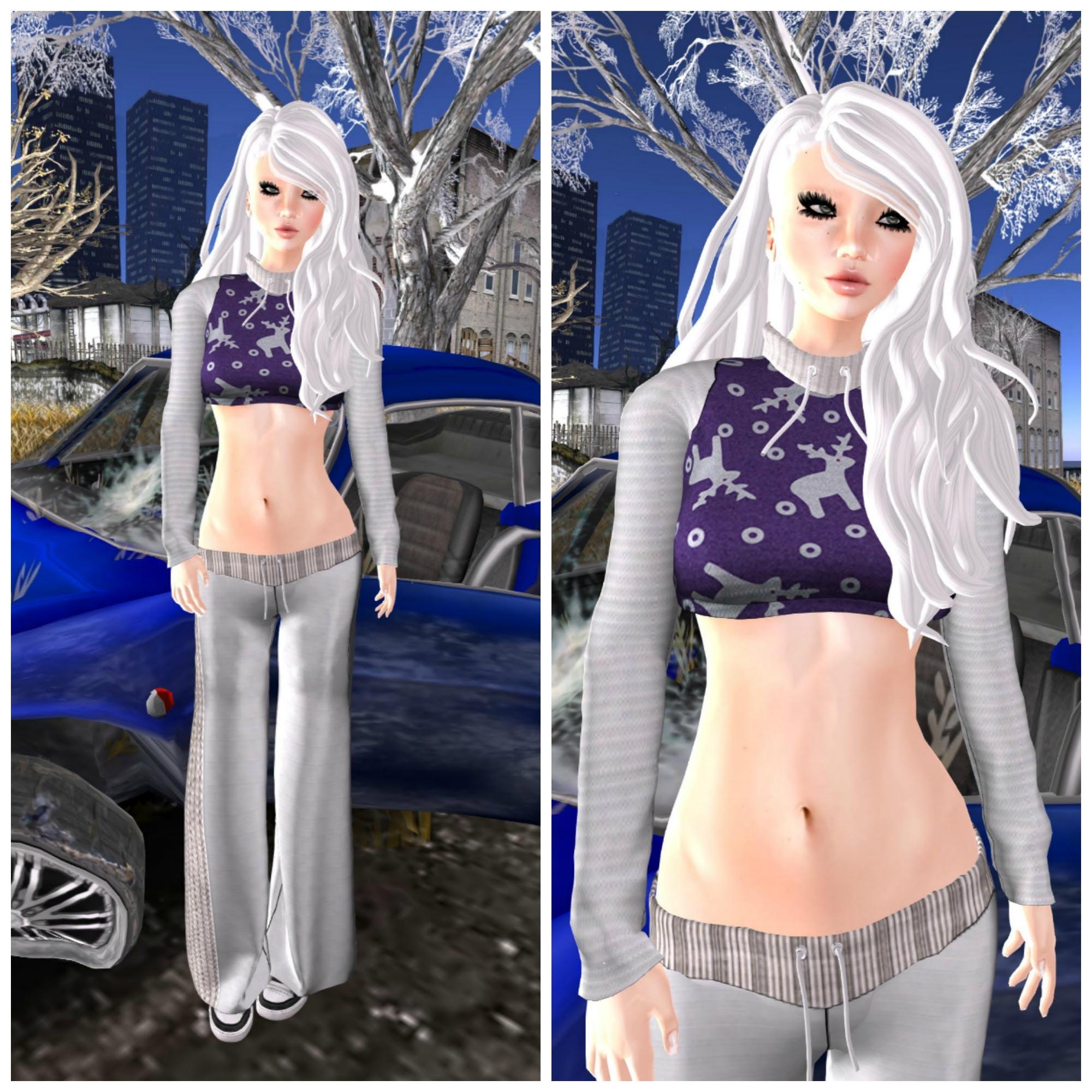 Eyelure Sweatsuit White/Purple Reindeer feat Mega Lash
