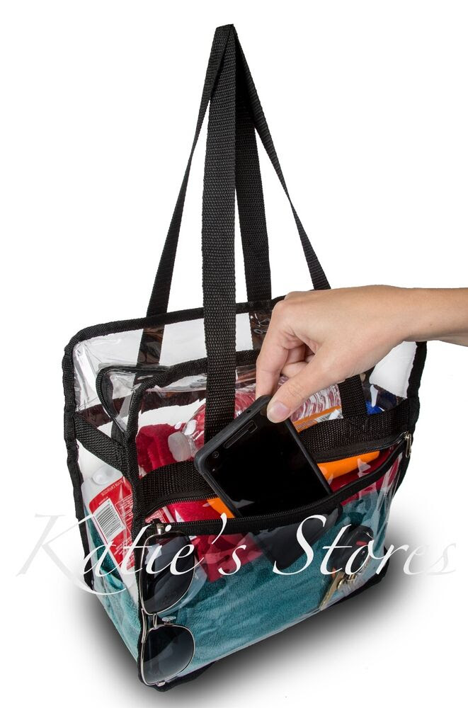 CLEAR NFL TOTE BAG STADIUM APPROVED 12x12x6 Zipper Side Pocket! FAST SHIPPING!  eBay