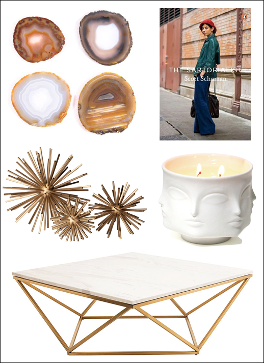 Le Fashion Blog -- Home Decor Inspiration: 5 Key Pieces For A Chic Coffee Table -- Agate Coasters, The Sartorialst Book, Brass Sculptures, Jonathan Adler Muse Face Candle & Marble Top Coffee Table -- Ebay Guide -- photo Le-Fashion-Blog-Home-Decor-Inspiration-5-Key-Pieces-For-A-Chic-Coffee-Table-Ebay-Guide.png