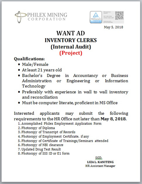 WANT AD INVENTORY CLERKS (Internal Audit) Project