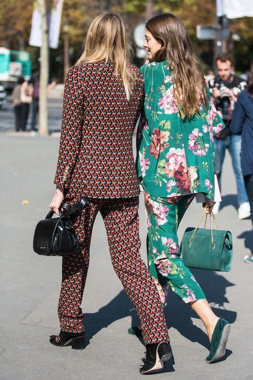 Le Fashion Blog Street Style Trends Pajama Matching Set Floral Print Teal Shoulder Bag Tote Bag Green Suede Flats Black Leather Heels Via Sandra Semburg