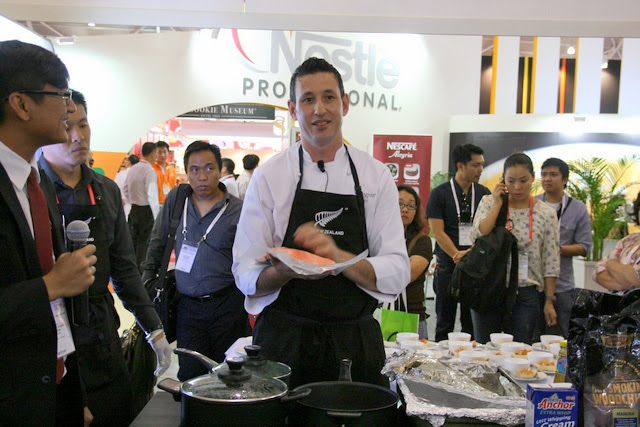 Chef Jason Dell at the NZTE Booth at FHA 2012